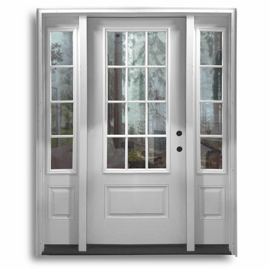 Surplus doors front entrance doors with side lights for Cheap back doors