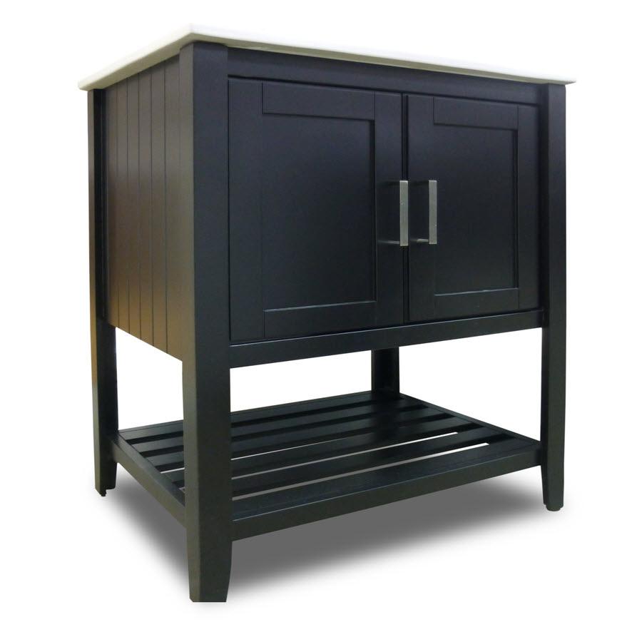 Surplus Bathroom Fixtures: Valerie Combo Vanity 30w X 18d X 34h Black With Top: Home