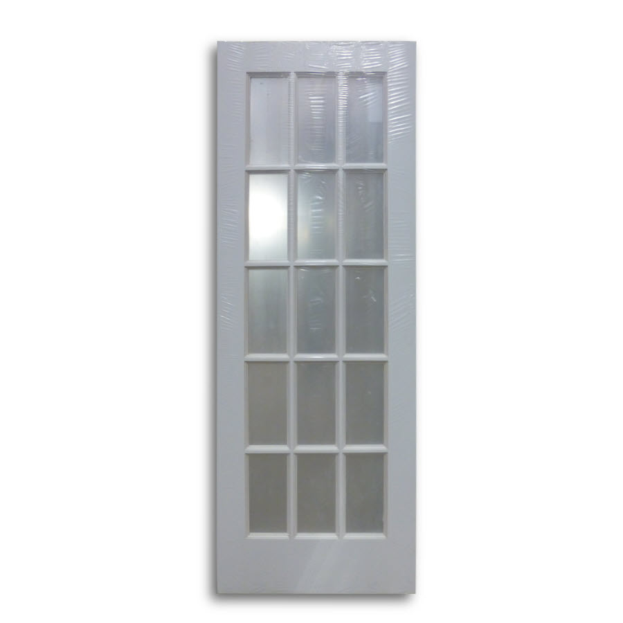 Interior french door primed white 15 lite 28 w home for 15 lite french door