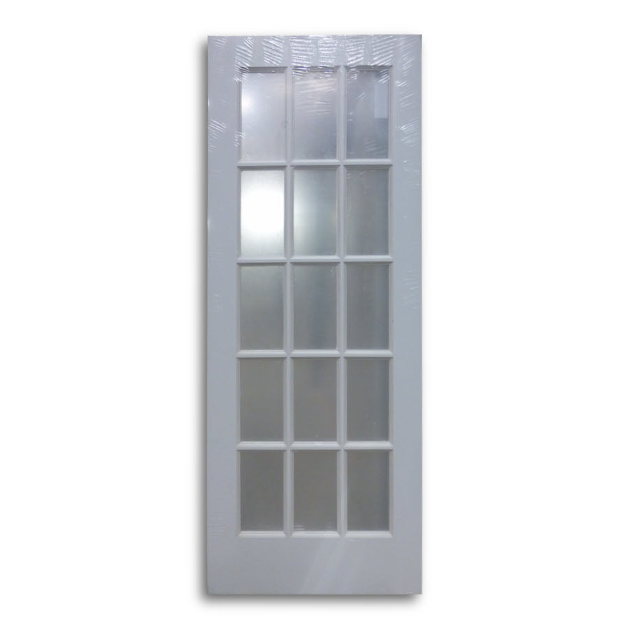 Interior french door primed white 15 lite 30 w home for 15 lite french door