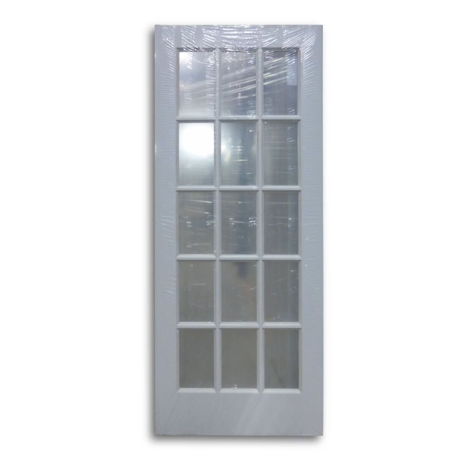 Interior french door primed white 15 lite 32 w home for 15 french door