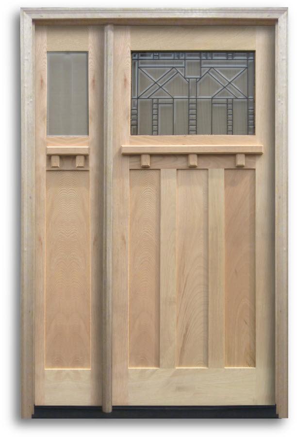 Pre Hung Oak Exterior Door Craftsman Top Lite With Black Caming 1 Sidelite 36 W 80 H