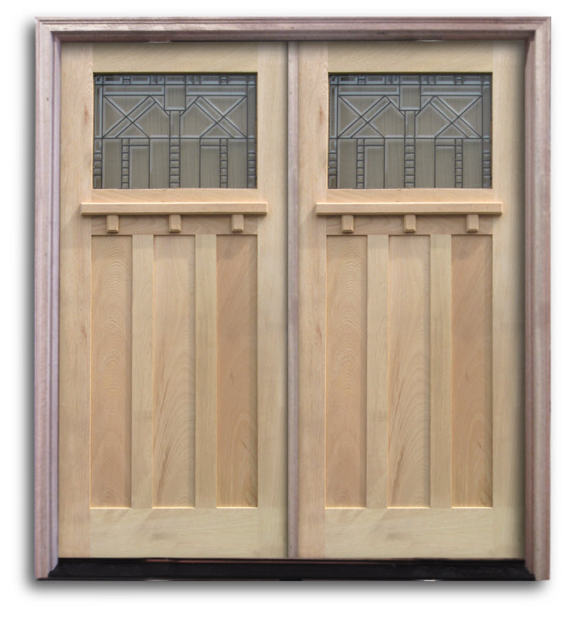 Black Double Doors Outside : Pre hung oak exterior door unit craftsman top lite