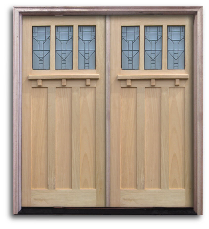 Black Double Doors Outside : Pre hung oak exterior door unit craftsman top lites