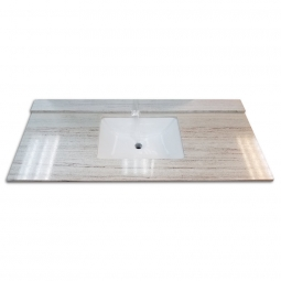 beach sand marble top combos with rectangular sink and backsplash