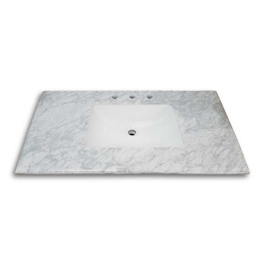 Carrara White Marble Top 37 Inches Wide 22 Inches Deep