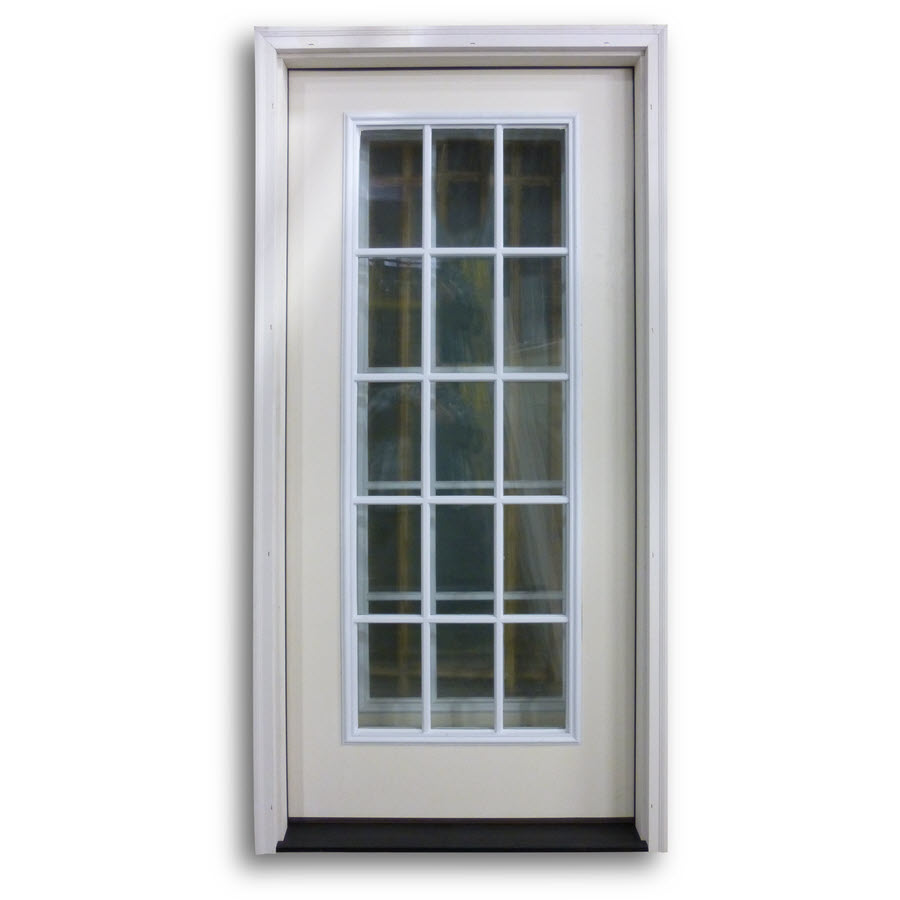 Pre hung 15 lite fiberglass exterior door primed white for 15 lite entry door