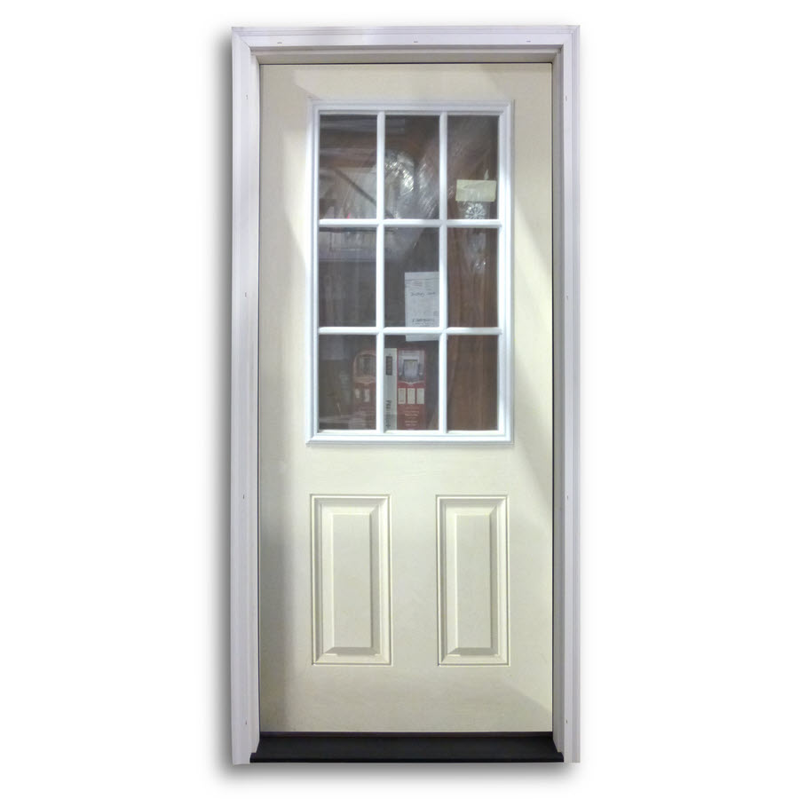 Pre hung 9 lite fiberglass exterior door primed white for Pre hung doors