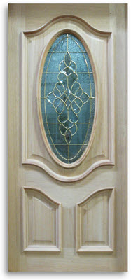 oak exterior door 3 4 oval with brass caming 36 w slab only home surplus