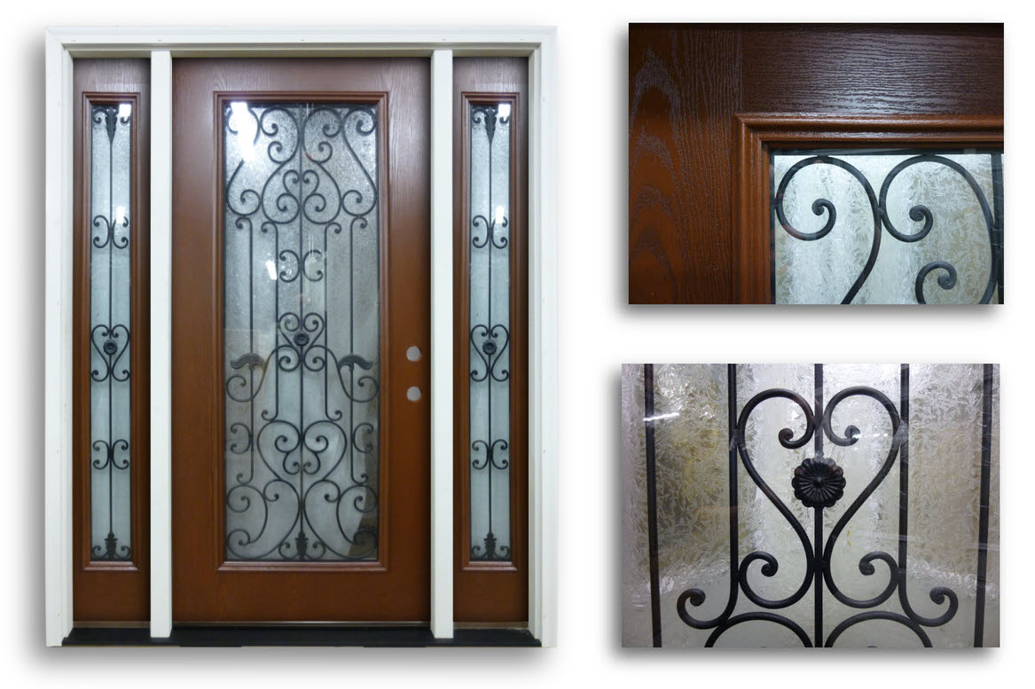 777 #603F2C Prehung Mahogany Fiberglass With 2 Sidelites HESTIA Full Glass  save image Fiberglass Entry Doors With Sidelites 42671167