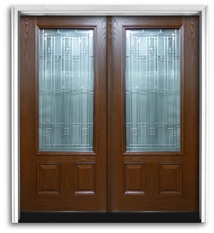 Prehung Fiberglass Mahogany Double Doors Craftsman 3