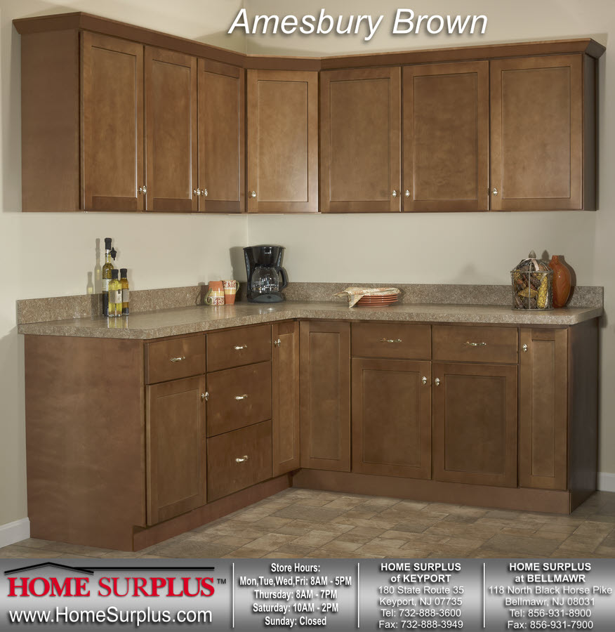 Andover Brown Collection Kitchen Cabinets Solid Wood Soft: Amesbury Brown Cabinets: Home Surplus