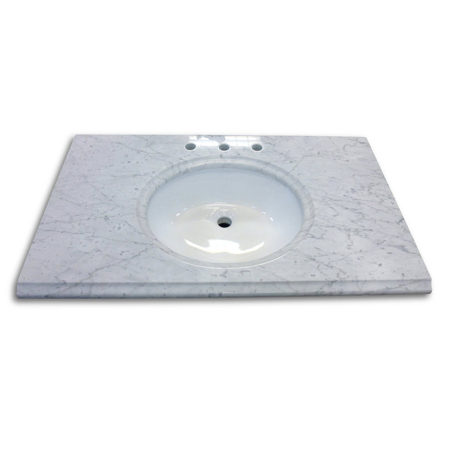 Carrara White Marble Top Combos With Oval Sink And Backsplash
