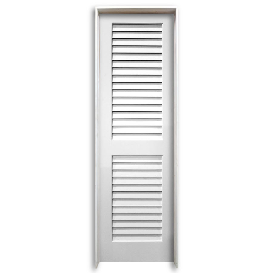 24 pre hung interior plantation primed louver door home surplus - Plantation louvered closet doors ...
