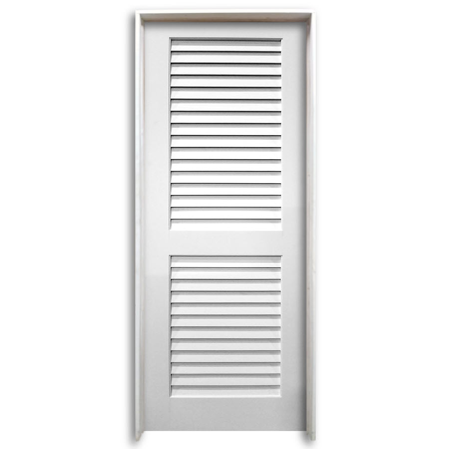 36 Pre Hung Interior Plantation Primed Louver Door Home