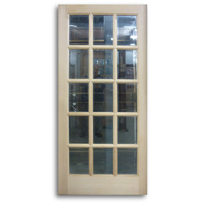 Oak exterior french door 15 lite 36 x 80 slab only for Oak french doors external