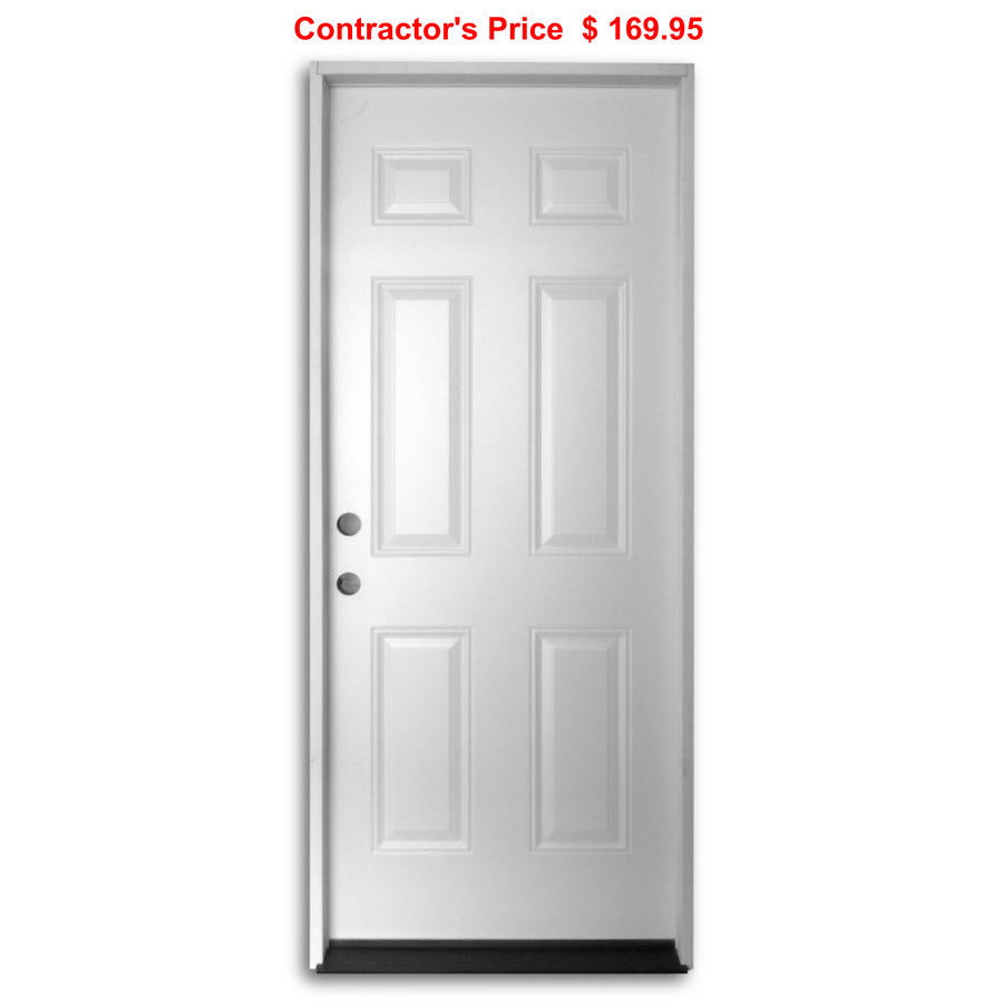 36 Inch Pre Hung Steel Door 6 Panel Home Surplus