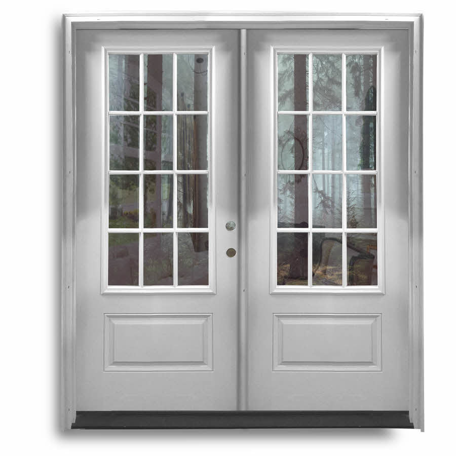 Pre hung fiberglass double doors 3qtr 12 lite primed white home surplus for Fiberglass double doors exterior