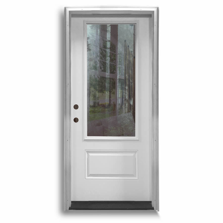 sc 1 st  Home Surplus & Pre-Hung Fiberglass Door - 3QTR Clear - Primed White: Home Surplus