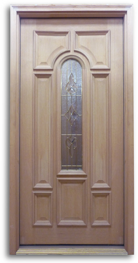 OAK EXTERIOR DOOR; Bullet Style Glass With Brass Caming 36u2033w U2013 Single Door  Prehung