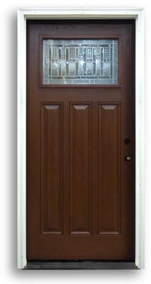 Prehung Mahogany Fiberglass Craftsman Style Zinc Caming Home Surplus