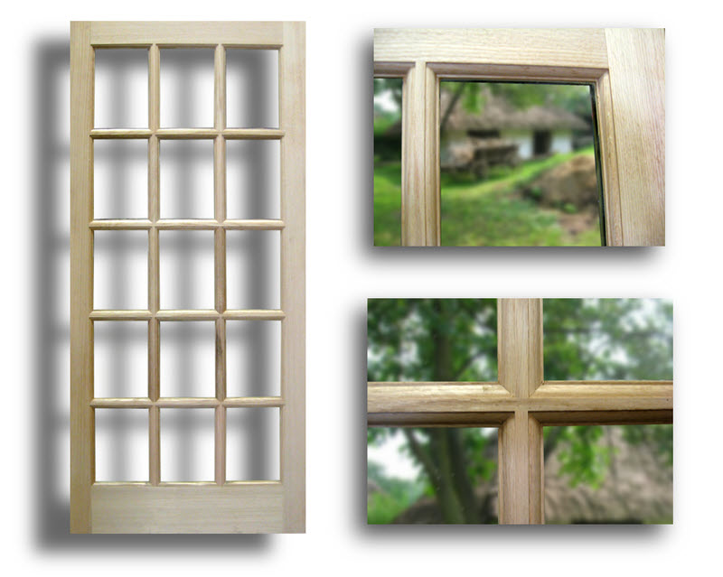 Oak exterior french door 15 lite 36 x 80 slab only for Oak exterior french doors