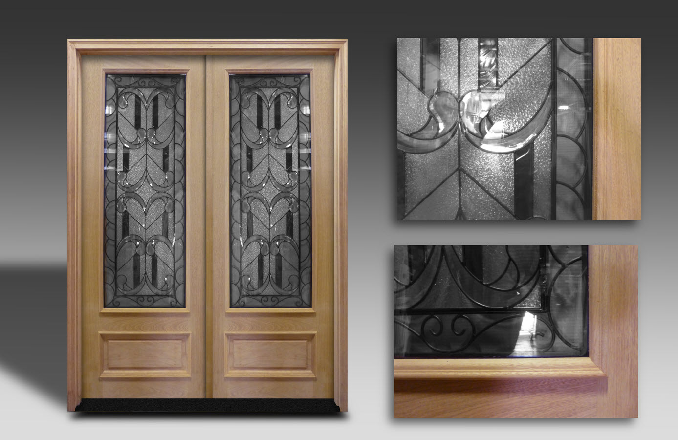 Prehung Oak Exterior Double Doors Iron 6ft X 8ft Home