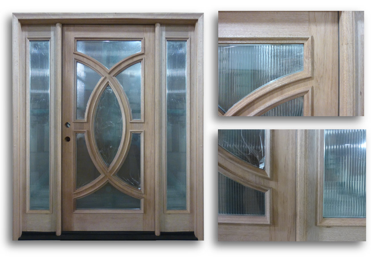 Pre-hung Mahogany Exterior Door with Reeded Glass and 2 Sidelites ...