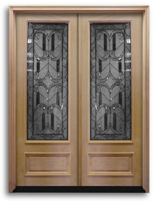 Pre Hung Double Doors Solid Oak With Enclosed Wrought Iron