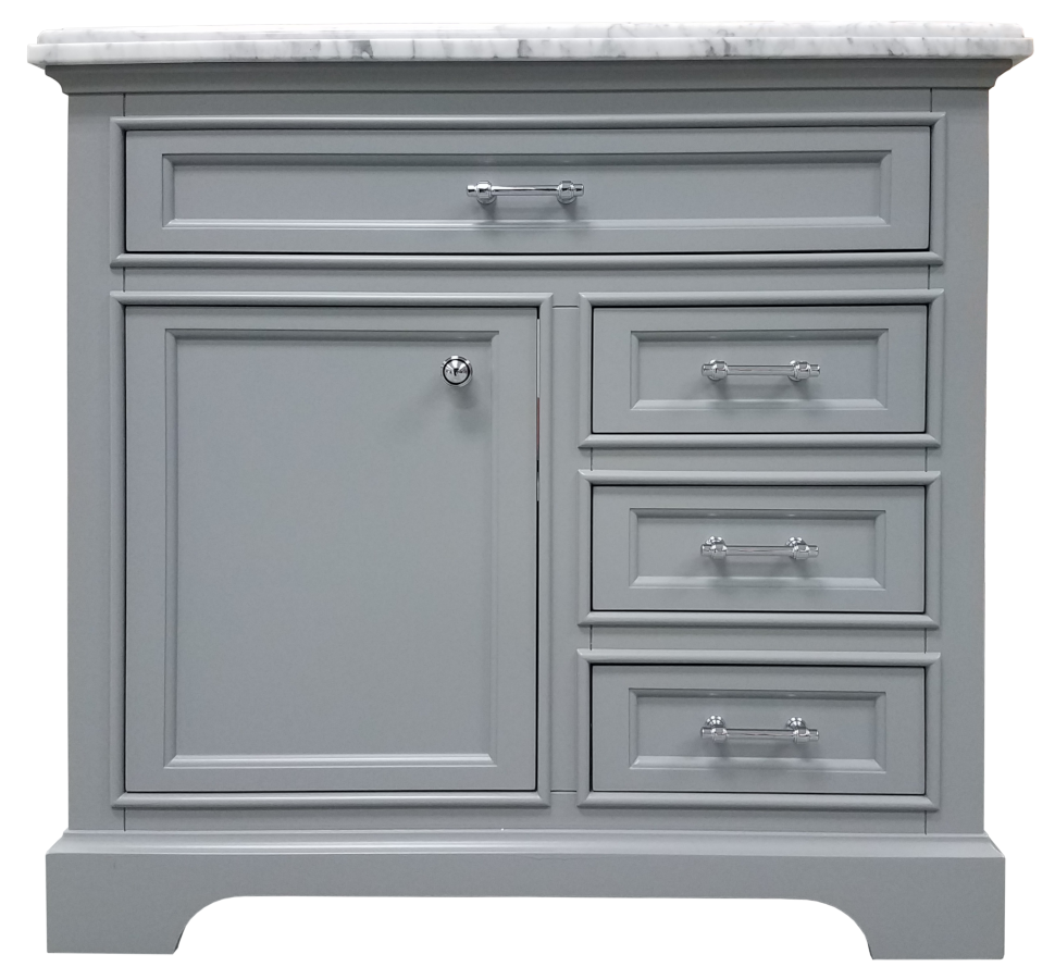 Milan Collection Light Grey Bath Vanity 36inch X 21inch 1 Door 3 Drawers Home Surplus