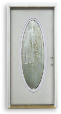 Home ... & Prehung Fiberglass Exterior Door - Primed White - Full Oval - Brass ...