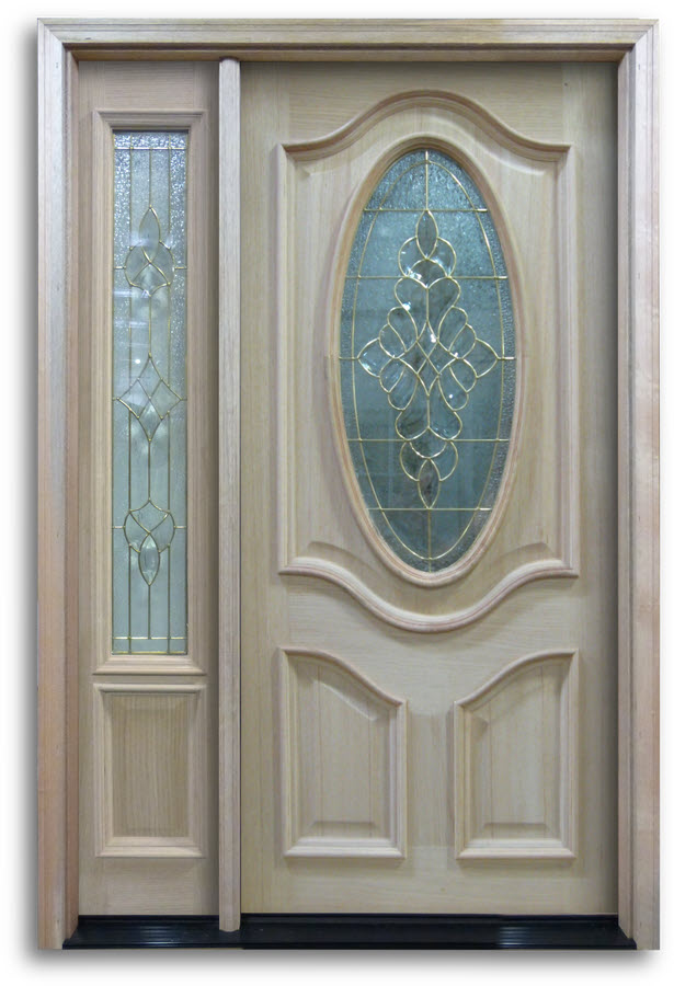 Oak Exterior Door 3 4 Oval With Brass Caming 32 Quot W