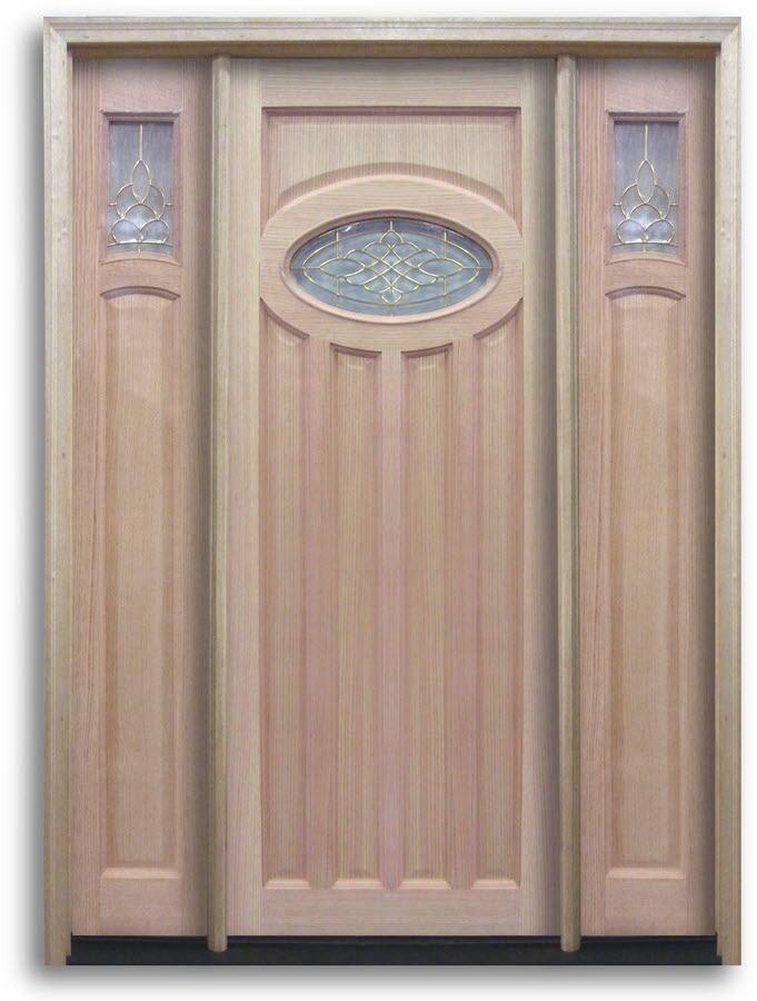 Pre Hung Oak Exterior Door Top Oval With Brass Caming 2