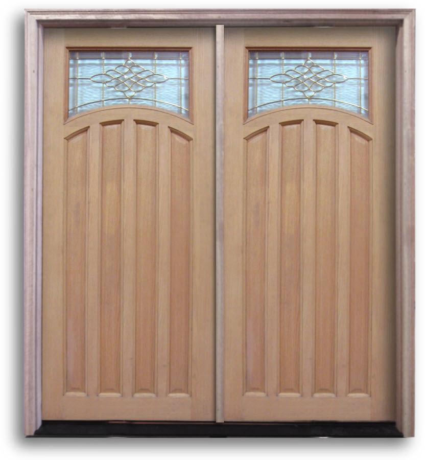 Oak Exterior Door Sunset Style Glass With Brass Caming 32 W Prehung Double Doors Home Surplus