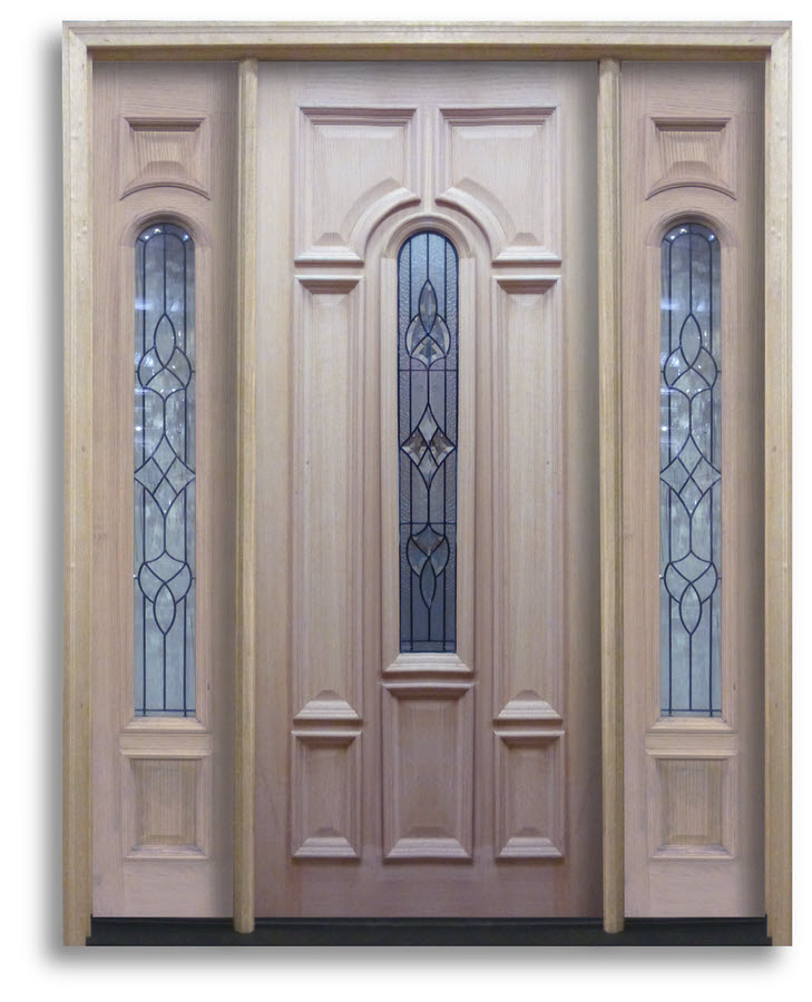 Oak Exterior Door Bullet Style Glass With Black Caming 32w
