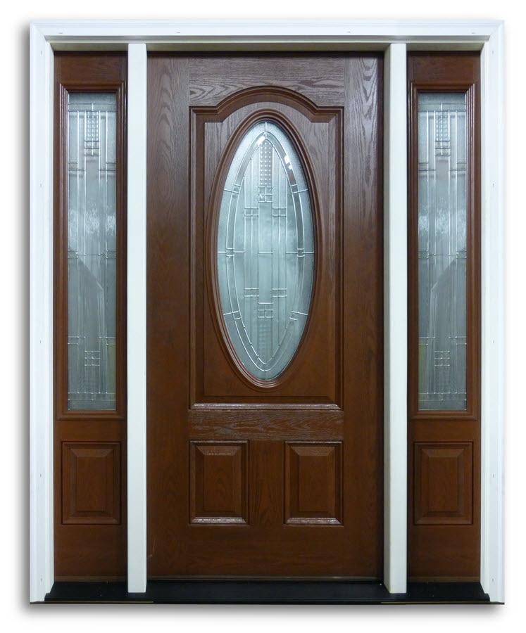 Prehung Mahogany Fibergl Door With 2 Sidelites 3 Qtr Oval Masonite Pattern Zinc Caming