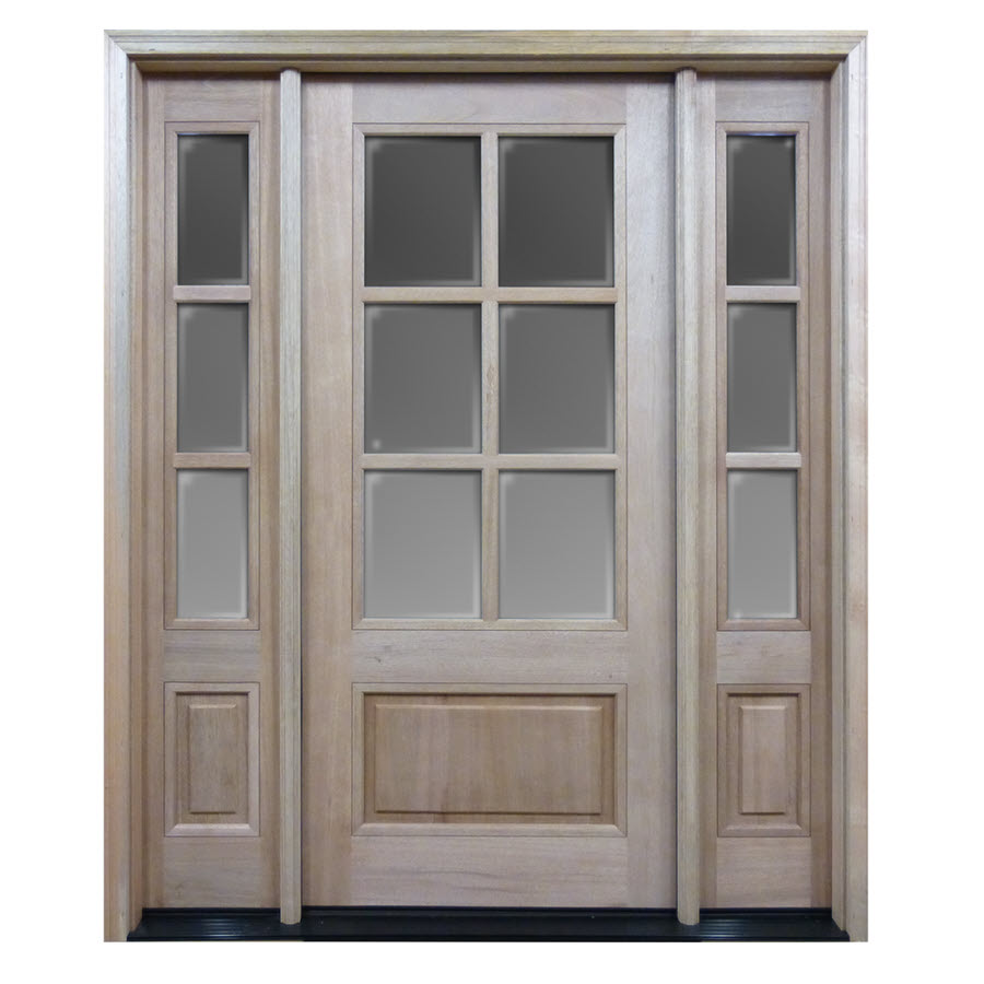Htc30 Pre Hung 6 Lite Mahogany Exterior Door With 2 Sidelites