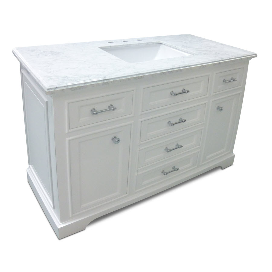Milan Collection – White Bath Vanity 48inch x 21inch 2 Doors 5 Drawers