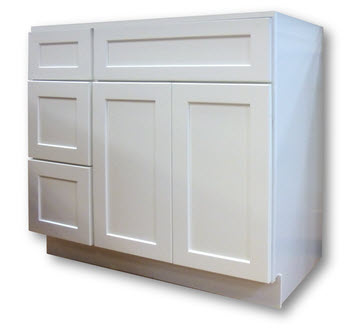 White Shaker Style Vanity 36 Wide Drawers On Left