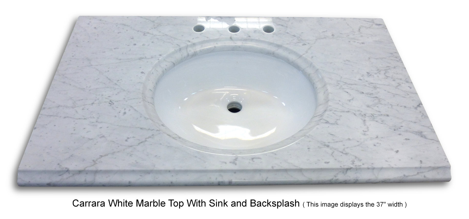 Carrara White Marble Top 43 Inches Wide With Sink And Backsplash