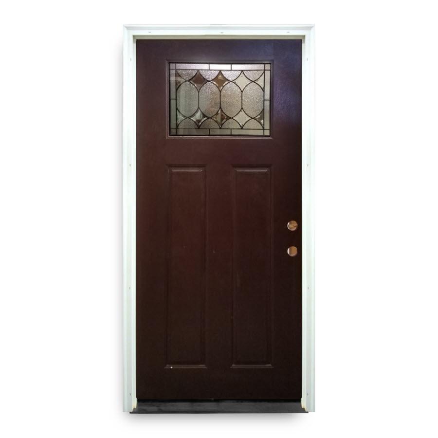 Prehung mahogany fiberglass exterior door craftsman for Craftsman entry doors fiberglass