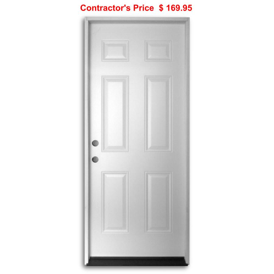 36 Inch Pre Hung Steel Door 6 Panel Home Surplus